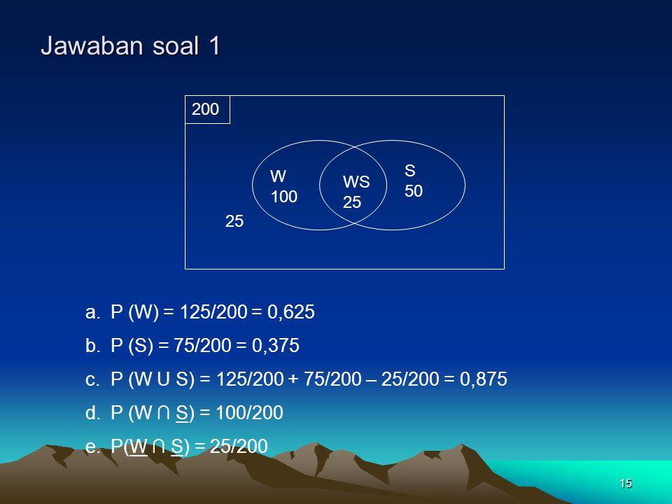Jawaban soal 1 P (W) = 125/200 = 0,625 P (S) = 75/200 = 0,375
