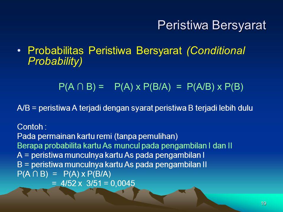 Peristiwa Bersyarat Probabilitas Peristiwa Bersyarat (Conditional Probability) P(A ∩ B) = P(A) x P(B/A) = P(A/B) x P(B)