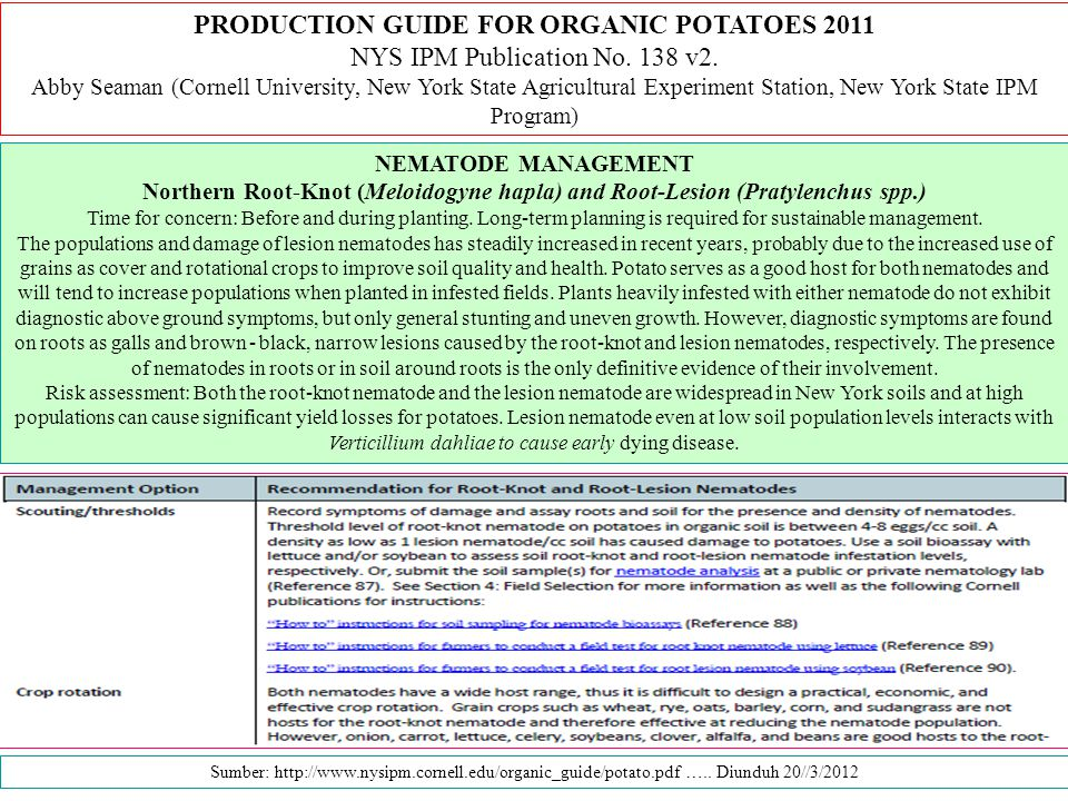 PRODUCTION GUIDE FOR ORGANIC POTATOES 2011
