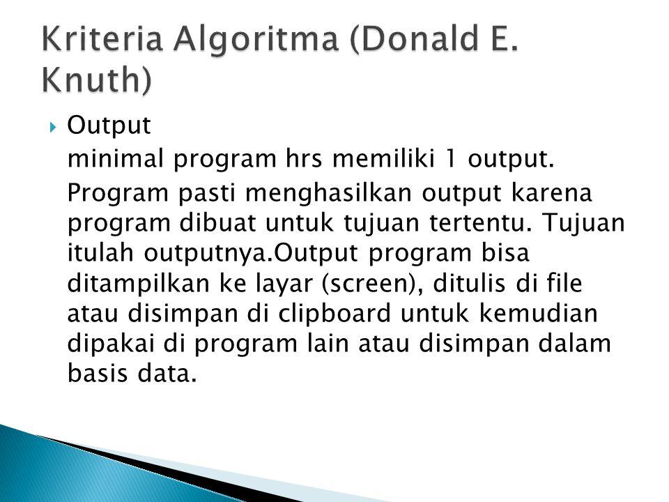 Kriteria Algoritma (Donald E. Knuth)