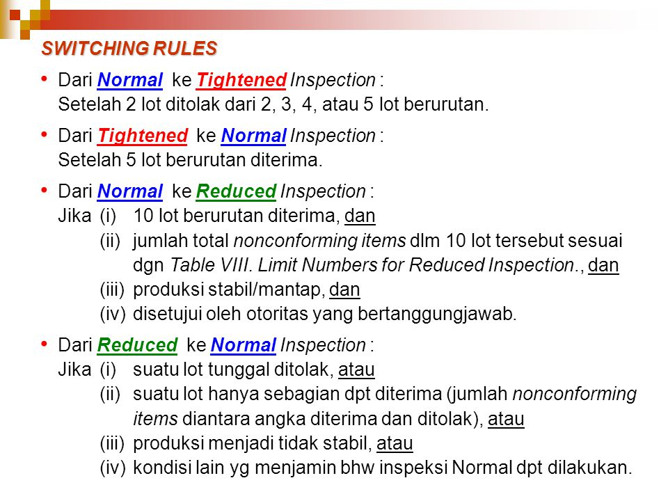 SWITCHING RULES Dari Normal ke Tightened Inspection : Setelah 2 lot ditolak dari 2, 3, 4, atau 5 lot berurutan.