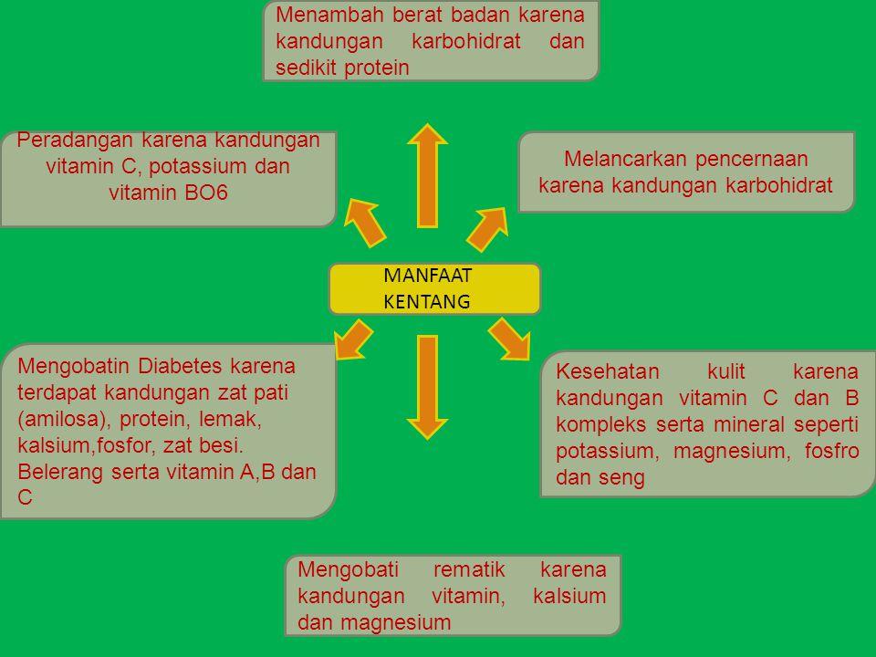 Menambah berat badan karena kandungan karbohidrat dan sedikit protein