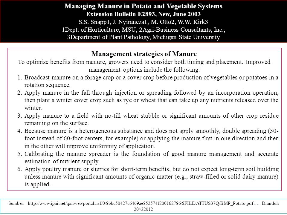 Managing Manure in Potato and Vegetable Systems