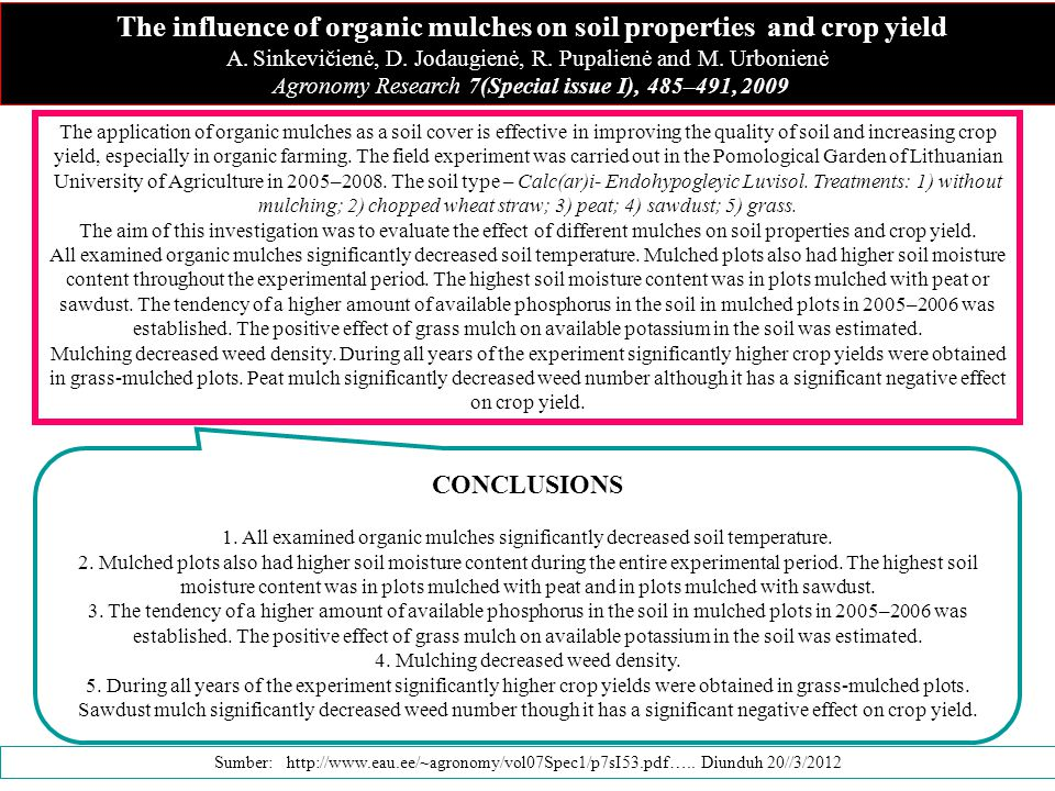 The influence of organic mulches on soil properties and crop yield