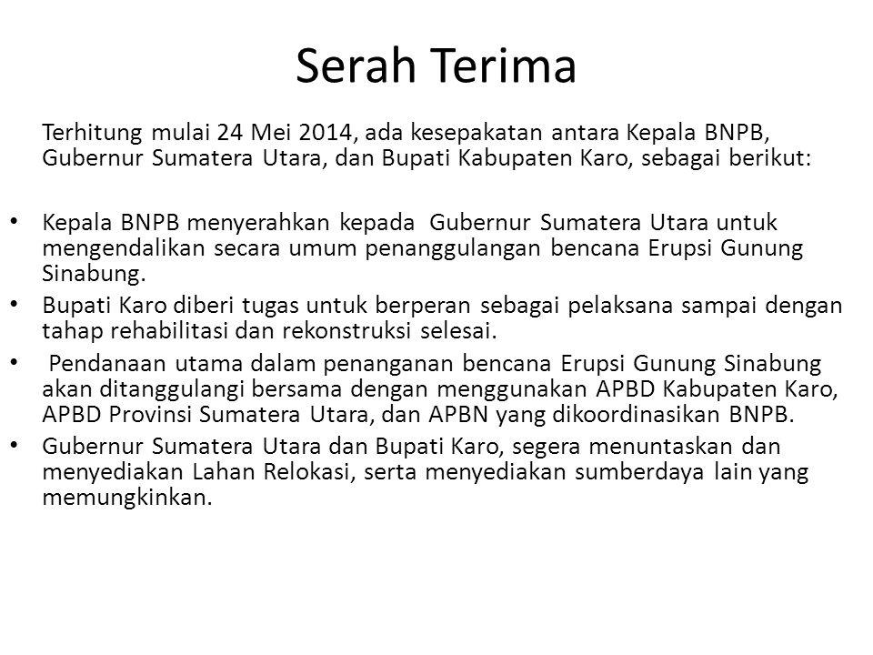 Serah Terima Terhitung mulai 24 Mei 2014, ada kesepakatan antara Kepala BNPB, Gubernur Sumatera Utara, dan Bupati Kabupaten Karo, sebagai berikut: