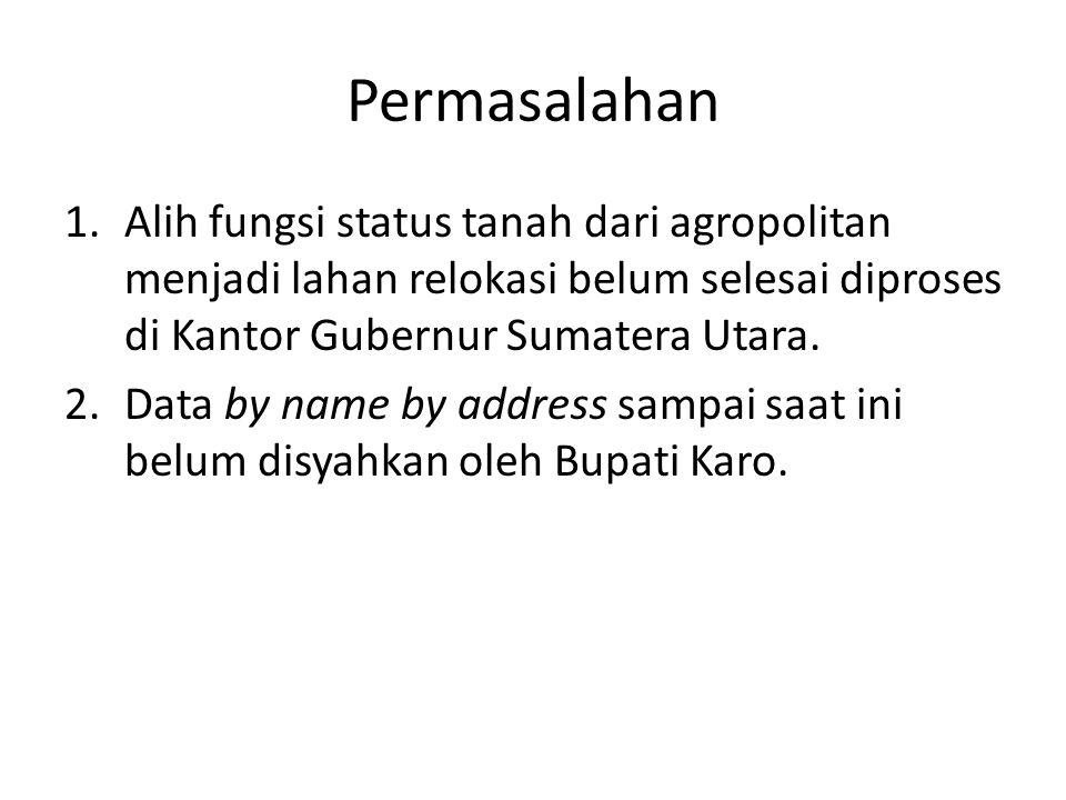 Permasalahan Alih fungsi status tanah dari agropolitan menjadi lahan relokasi belum selesai diproses di Kantor Gubernur Sumatera Utara.