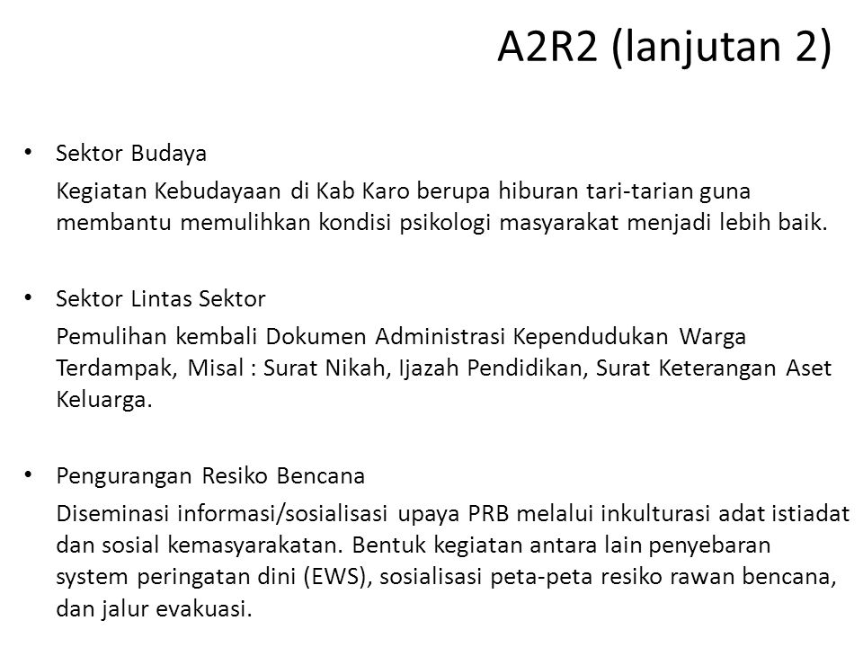 A2R2 (lanjutan 2) Sektor Budaya