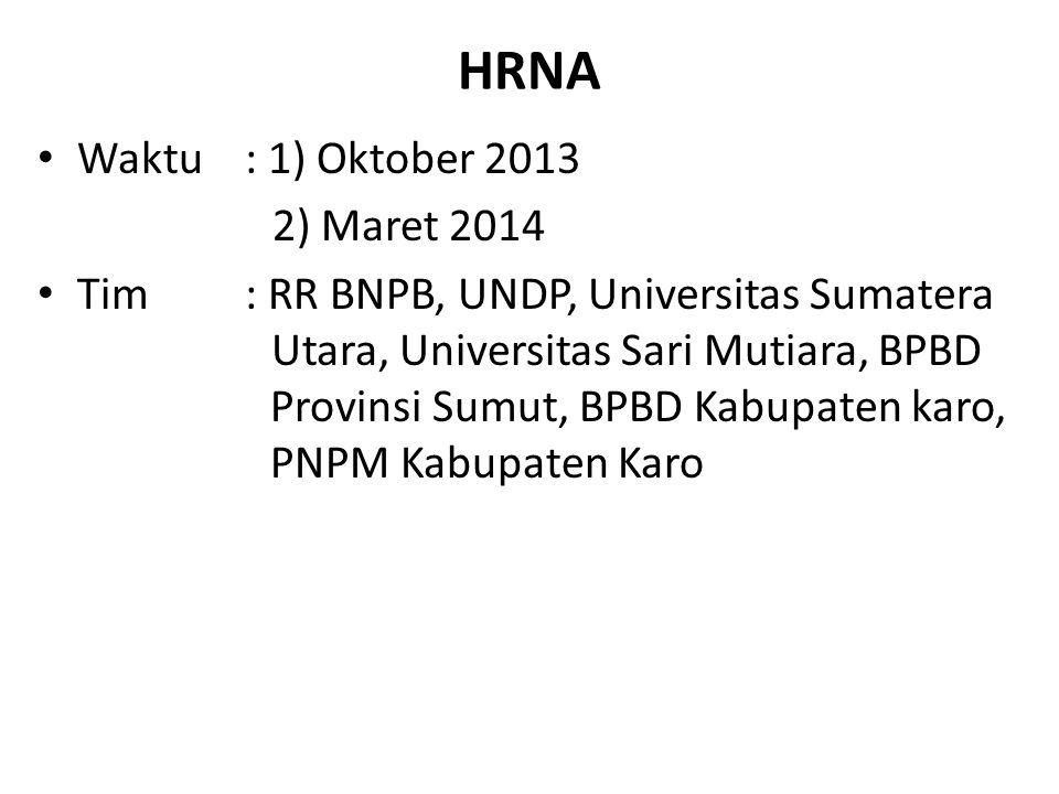 HRNA Waktu : 1) Oktober 2013 2) Maret 2014