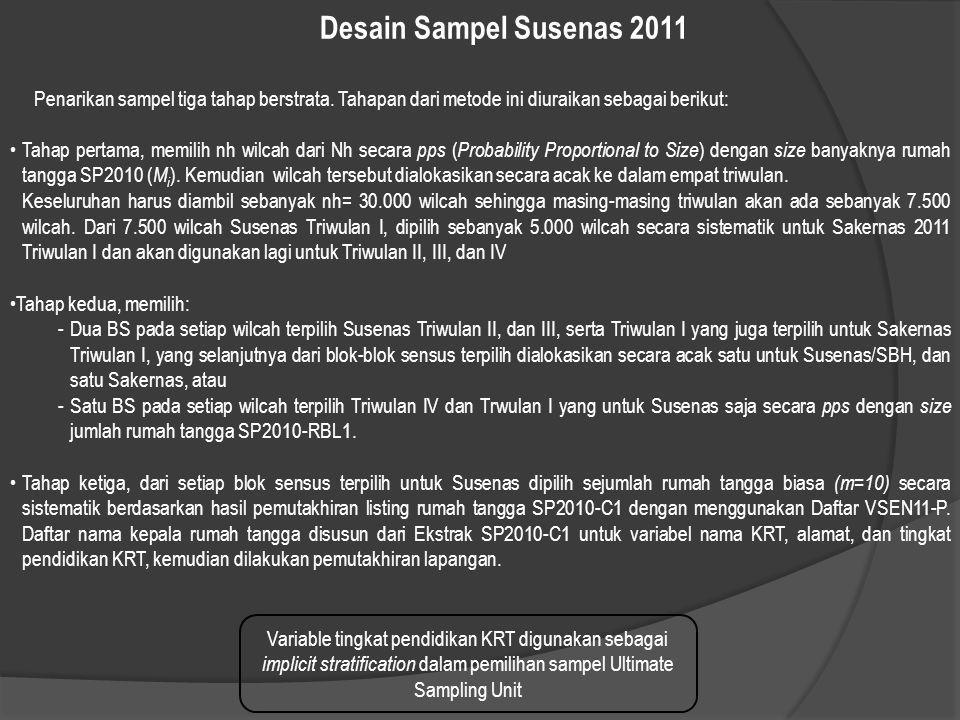 Desain Sampel Susenas 2011 Penarikan sampel tiga tahap berstrata. Tahapan dari metode ini diuraikan sebagai berikut:
