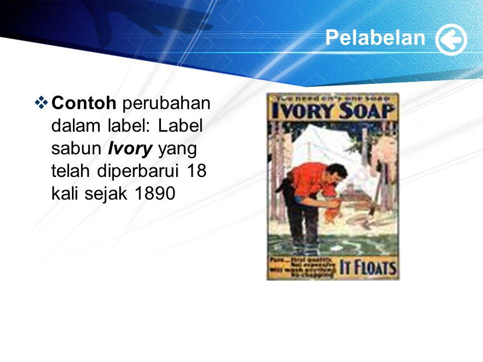 Pelabelan Contoh perubahan dalam label: Label sabun Ivory yang telah diperbarui 18 kali sejak 1890