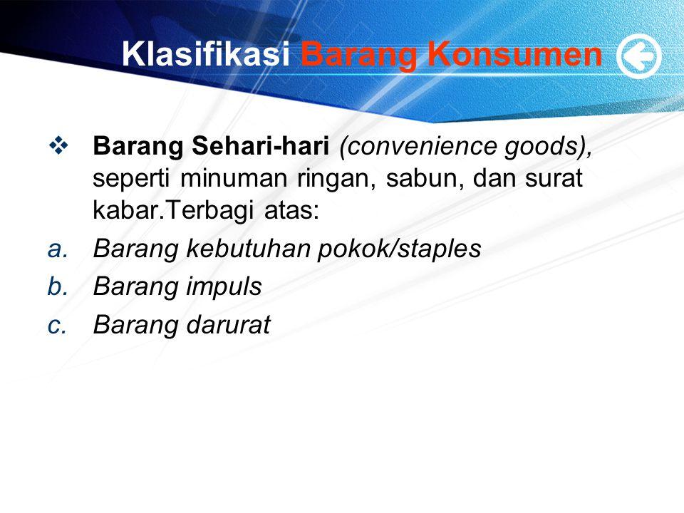 Klasifikasi Barang Konsumen