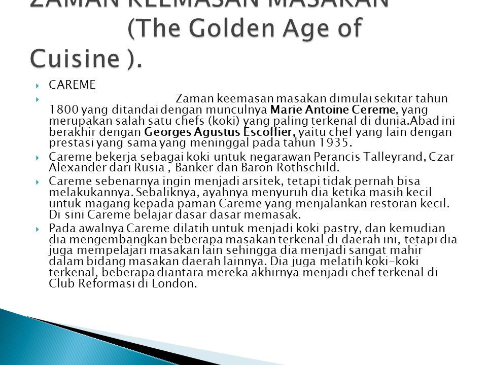 ZAMAN KEEMASAN MASAKAN (The Golden Age of Cuisine ).