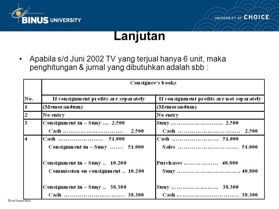 Lanjutan Apabila s/d Juni 2002 TV yang terjual hanya 6 unit, maka penghitungan & jurnal yang dibutuhkan adalah sbb :