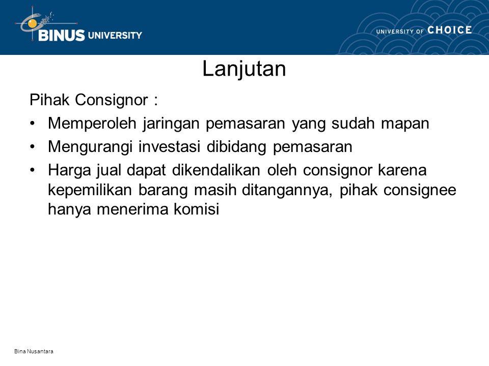 Lanjutan Pihak Consignor :