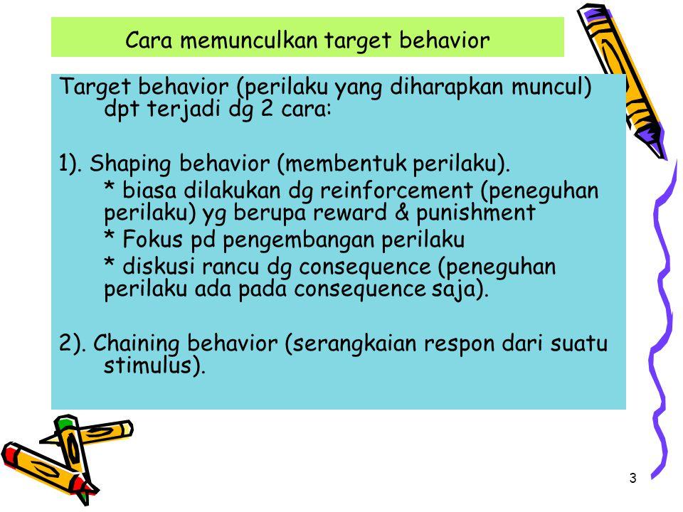 Cara memunculkan target behavior