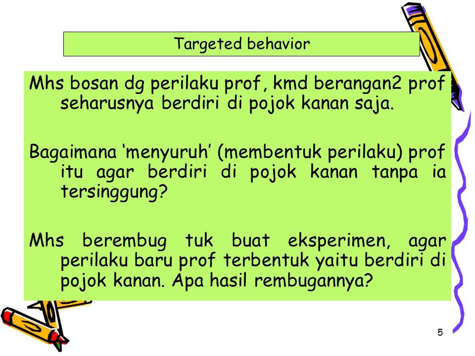 Targeted behavior Mhs bosan dg perilaku prof, kmd berangan2 prof seharusnya berdiri di pojok kanan saja.