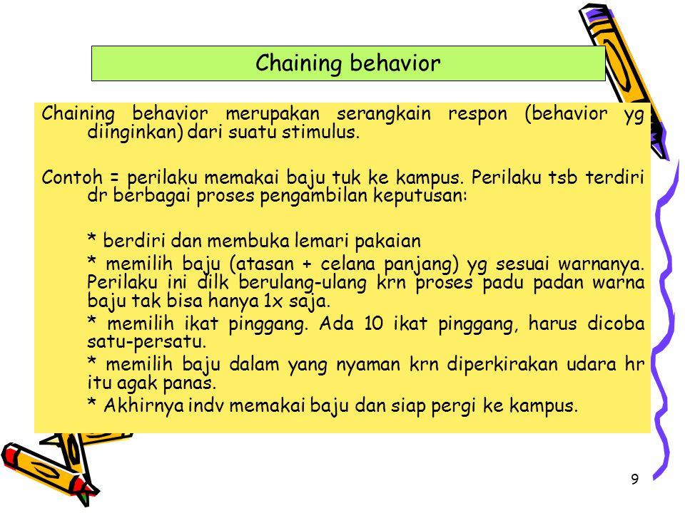 Chaining behavior Chaining behavior merupakan serangkain respon (behavior yg diinginkan) dari suatu stimulus.