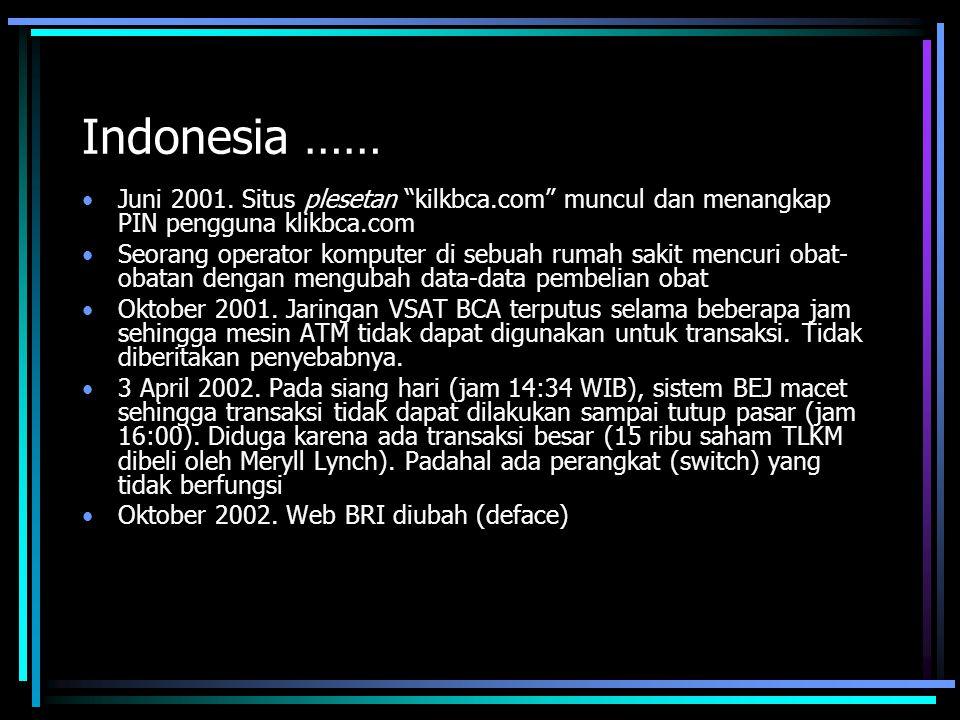 Indonesia …… Juni 2001. Situs plesetan kilkbca.com muncul dan menangkap PIN pengguna klikbca.com.