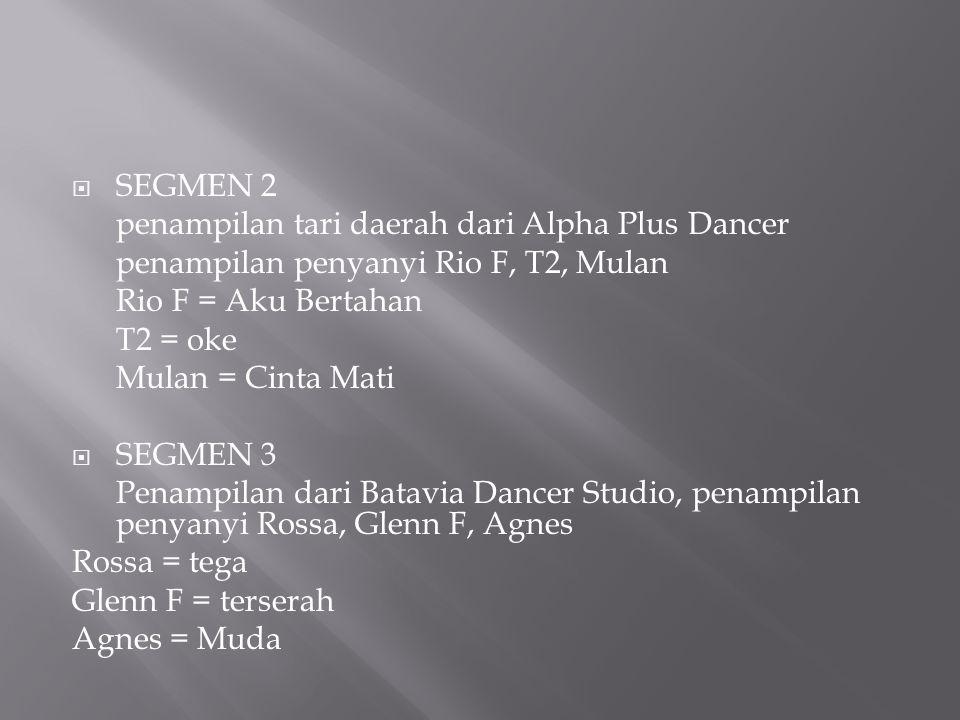 SEGMEN 2 penampilan tari daerah dari Alpha Plus Dancer. penampilan penyanyi Rio F, T2, Mulan. Rio F = Aku Bertahan.