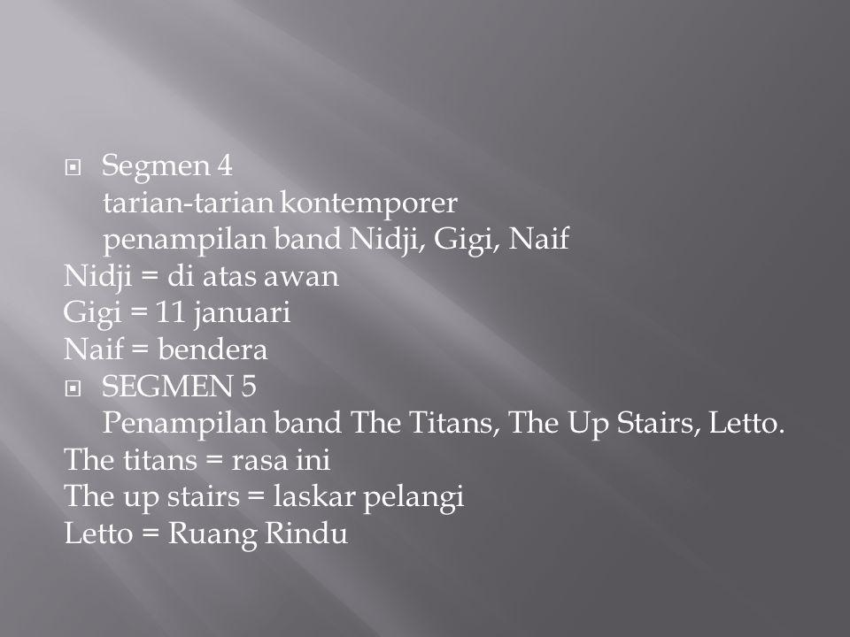 Segmen 4 tarian-tarian kontemporer. penampilan band Nidji, Gigi, Naif. Nidji = di atas awan. Gigi = 11 januari.