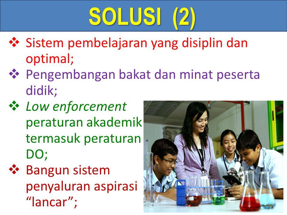 SOLUSI (2) Sistem pembelajaran yang disiplin dan optimal;
