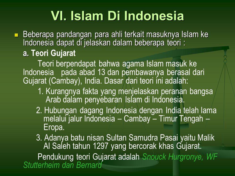 VI. Islam Di Indonesia Beberapa pandangan para ahli terkait masuknya Islam ke Indonesia dapat di jelaskan dalam beberapa teori :