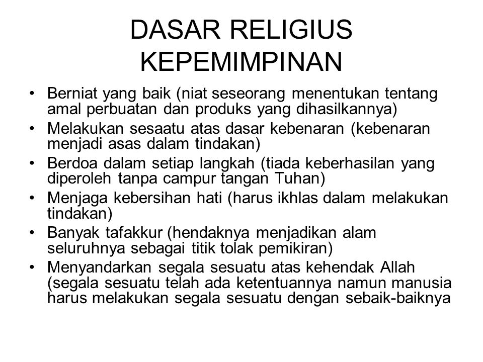 DASAR RELIGIUS KEPEMIMPINAN