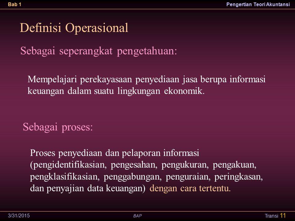 Definisi Operasional Sebagai seperangkat pengetahuan: Sebagai proses: