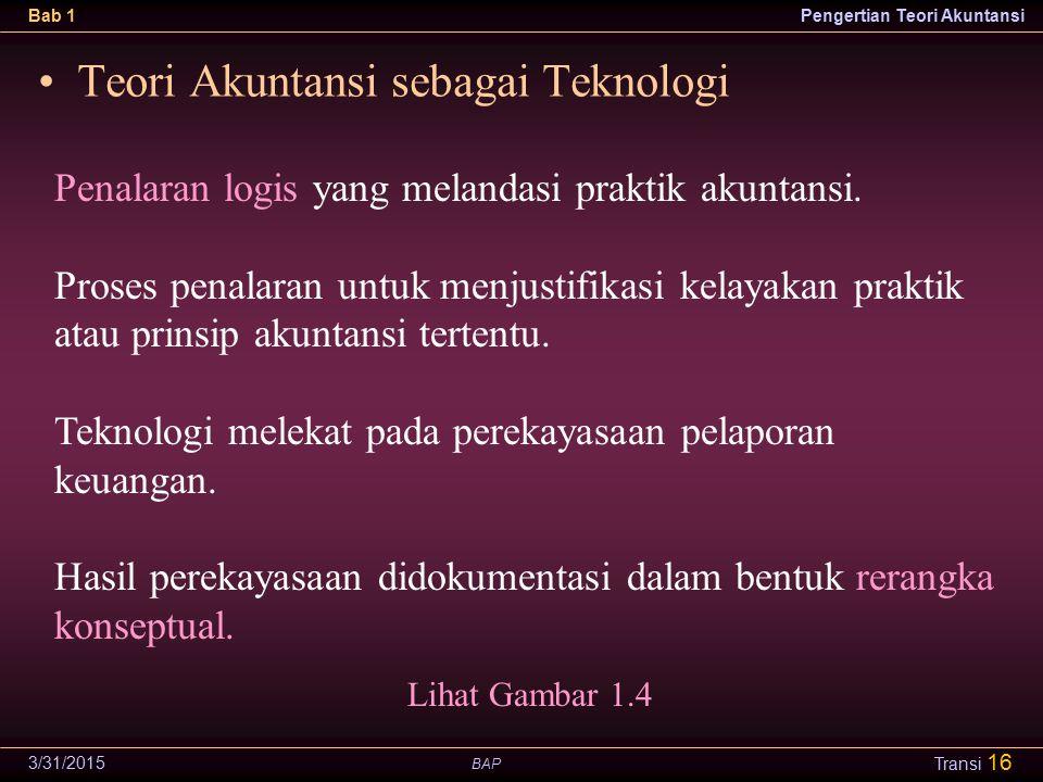 Teori Akuntansi sebagai Teknologi