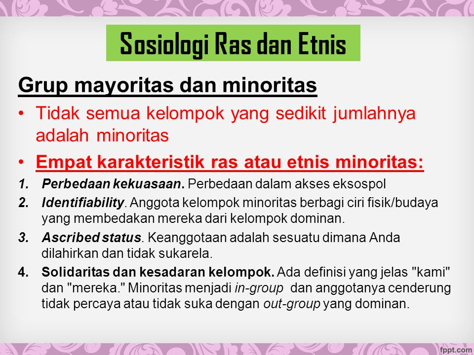 Sosiologi Ras dan Etnis