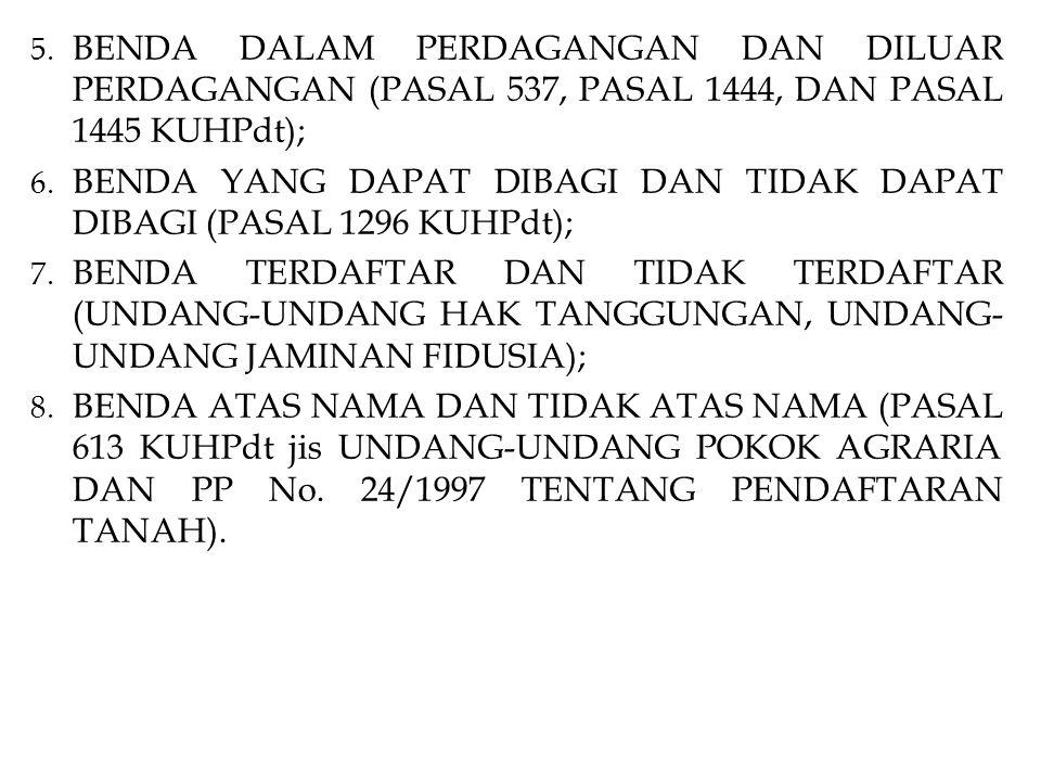 BENDA DALAM PERDAGANGAN DAN DILUAR PERDAGANGAN (PASAL 537, PASAL 1444, DAN PASAL 1445 KUHPdt);