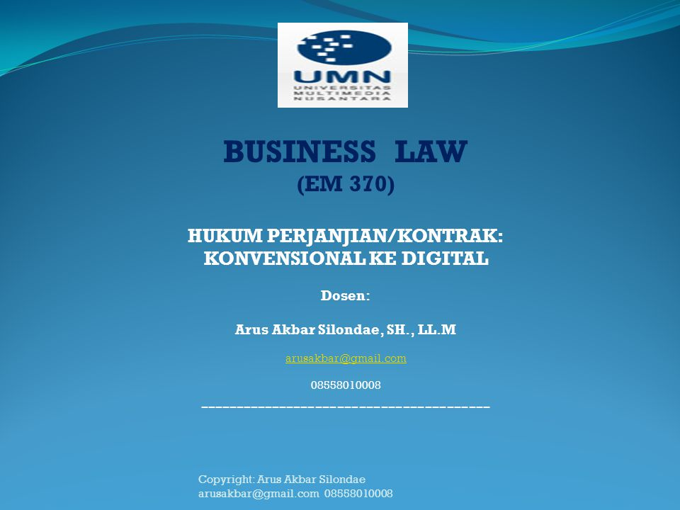 BUSINESS LAW (EM 370) ----------------------------------------