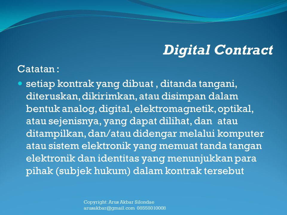 Digital Contract Catatan :