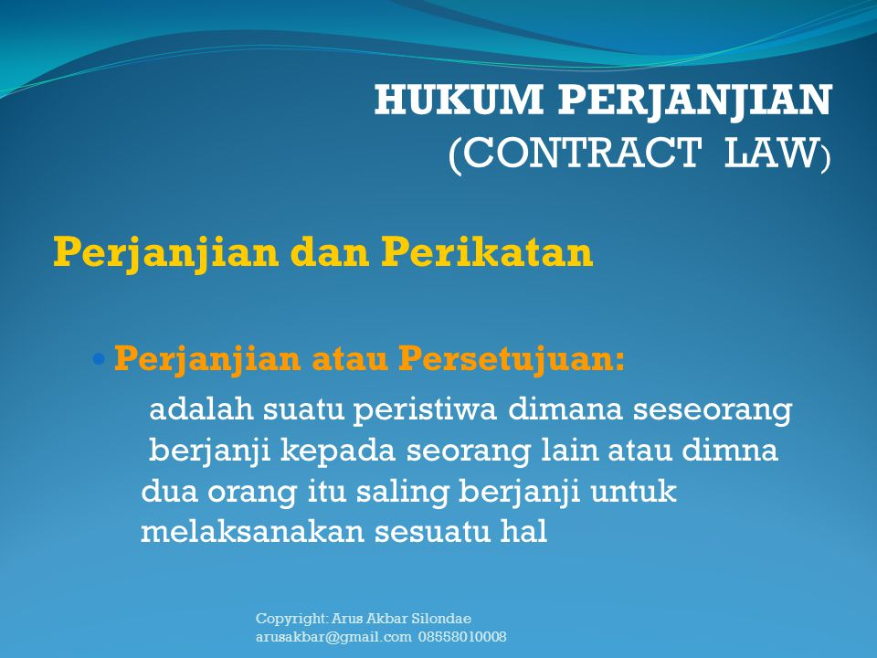 HUKUM PERJANJIAN (CONTRACT LAW)