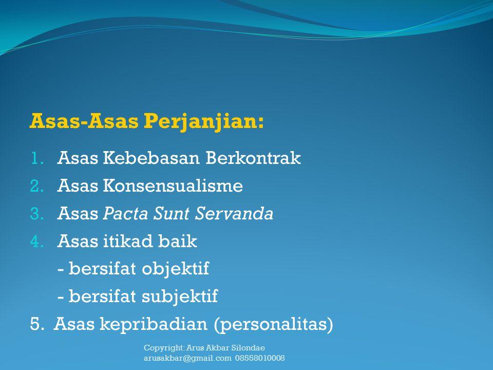 Asas-Asas Perjanjian: