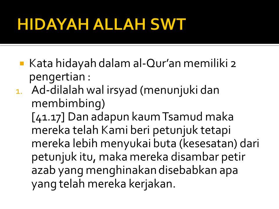 HIDAYAH ALLAH SWT Kata hidayah dalam al-Qur'an memiliki 2 pengertian :
