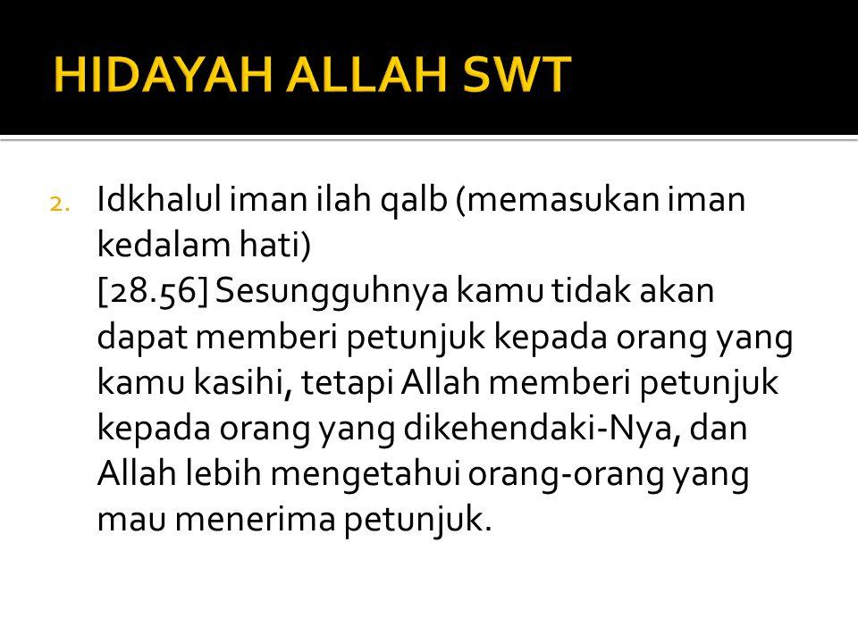HIDAYAH ALLAH SWT Idkhalul iman ilah qalb (memasukan iman kedalam hati)