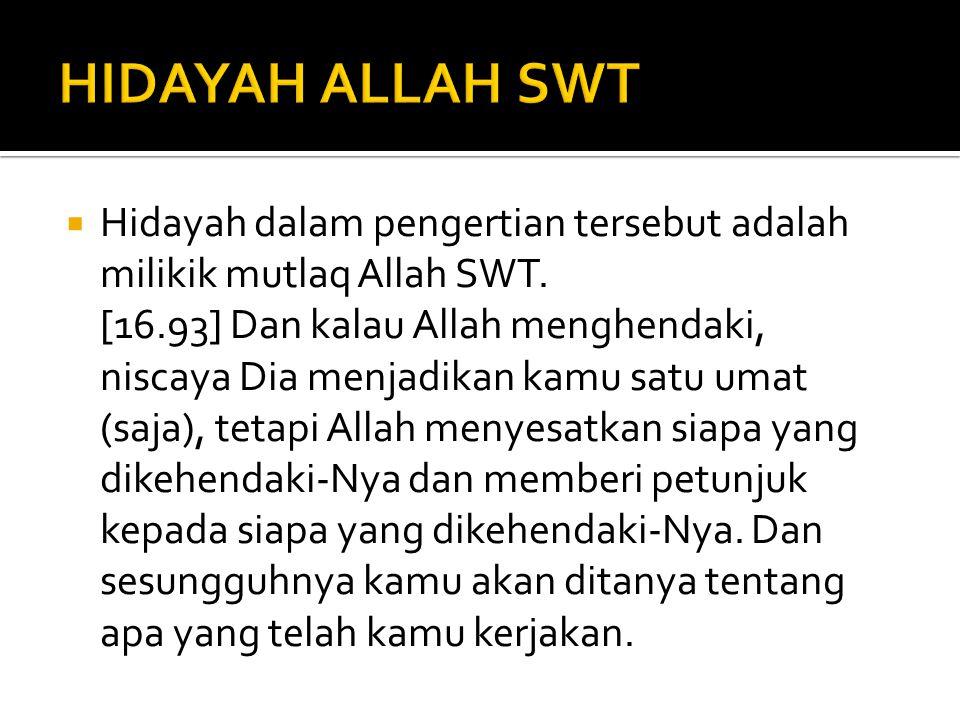 HIDAYAH ALLAH SWT Hidayah dalam pengertian tersebut adalah milikik mutlaq Allah SWT.