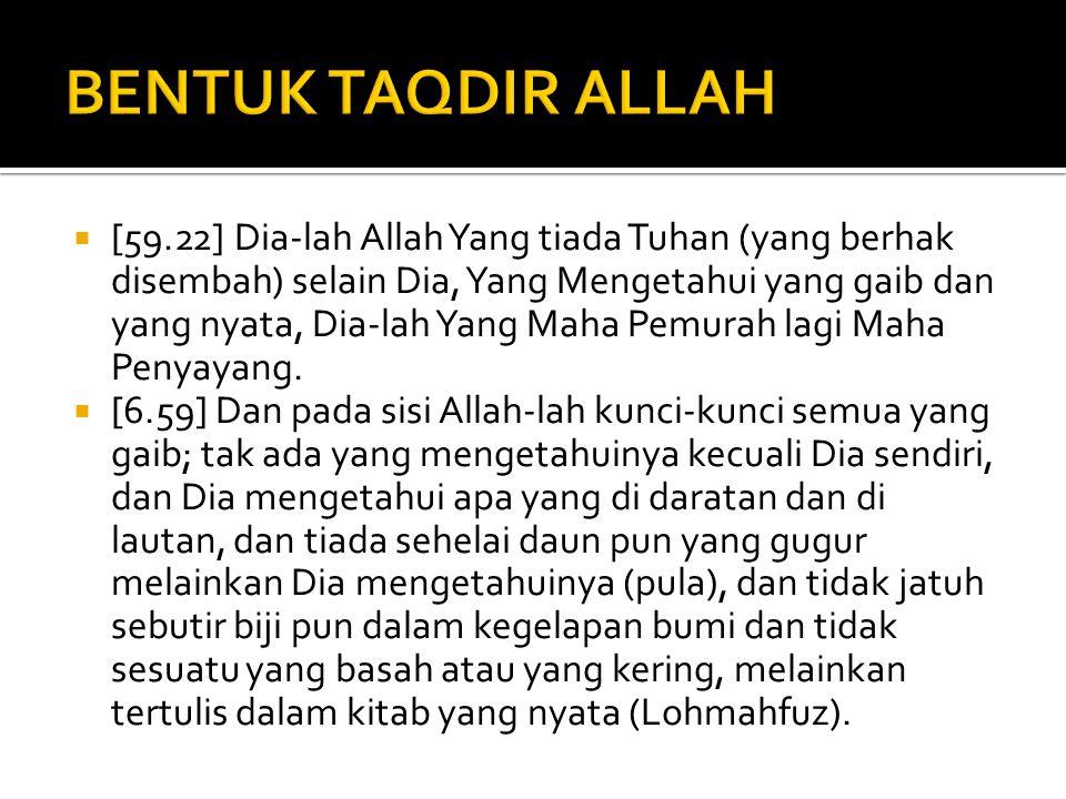 BENTUK TAQDIR ALLAH