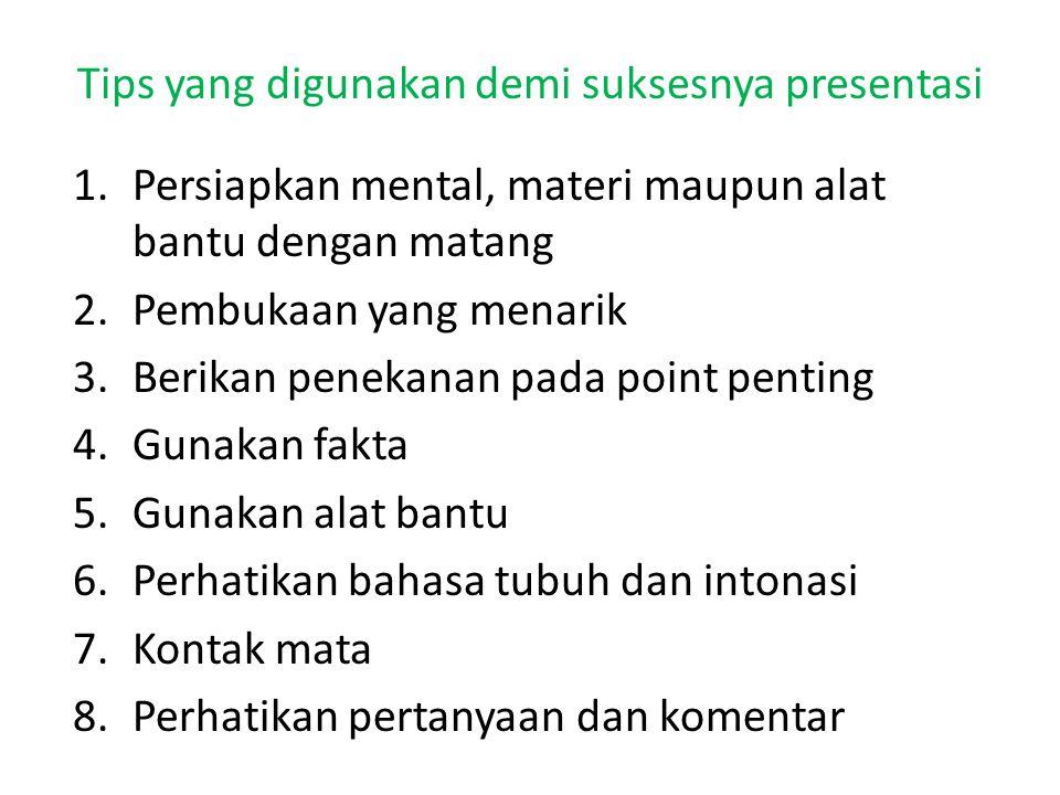 Tips yang digunakan demi suksesnya presentasi