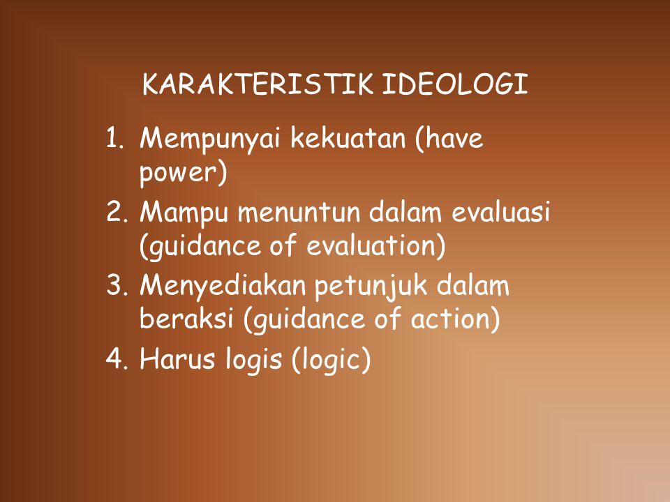 KARAKTERISTIK IDEOLOGI