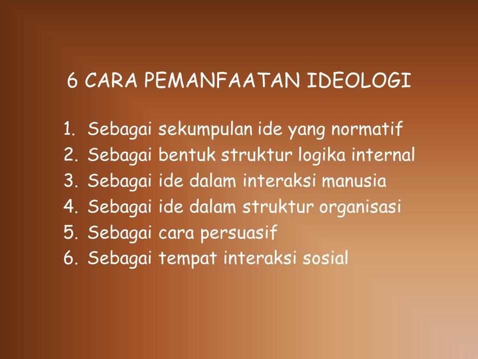 6 CARA PEMANFAATAN IDEOLOGI