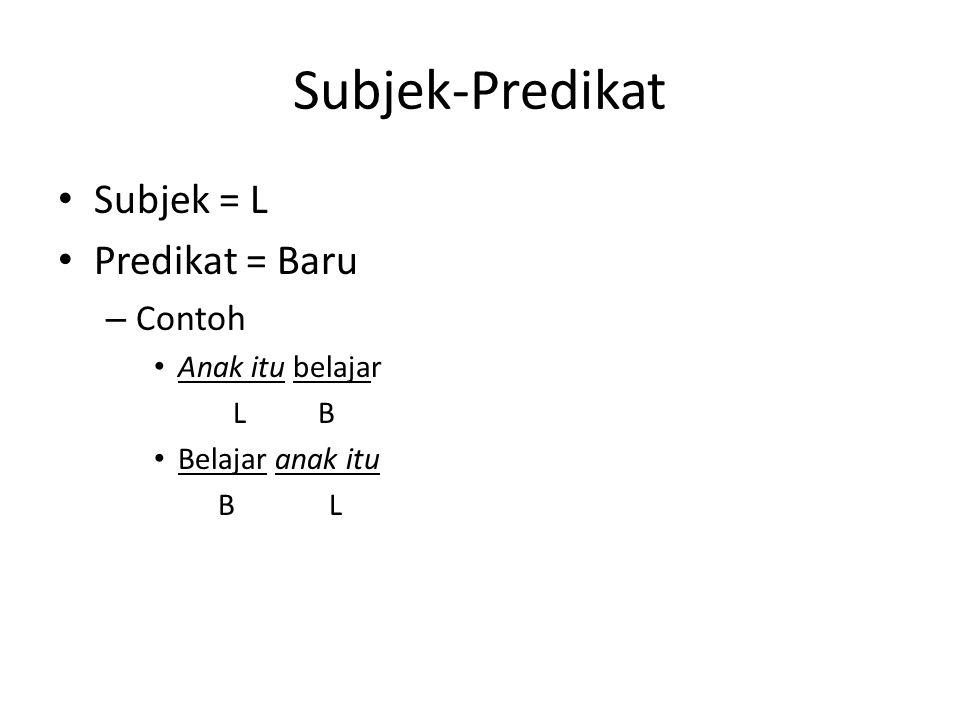 Subjek-Predikat Subjek = L Predikat = Baru Contoh Anak itu belajar L B