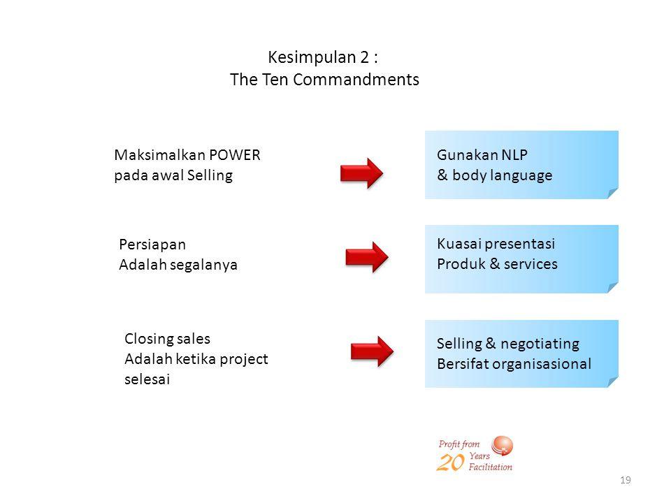 Kesimpulan 2 : The Ten Commandments Maksimalkan POWER