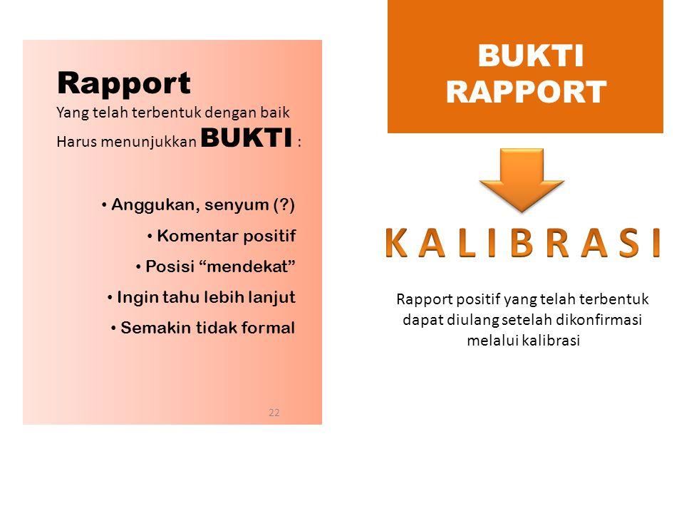 K A L I B R A S I BUKTI RAPPORT Rapport