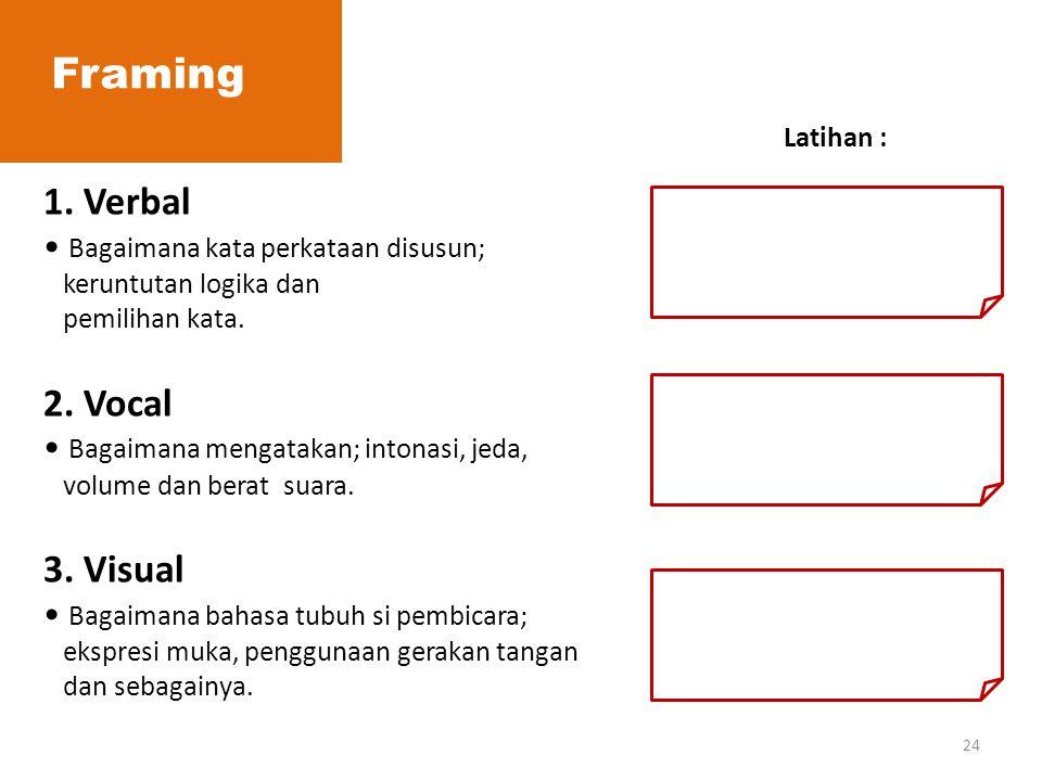 Framing 1. Verbal 2. Vocal 3. Visual