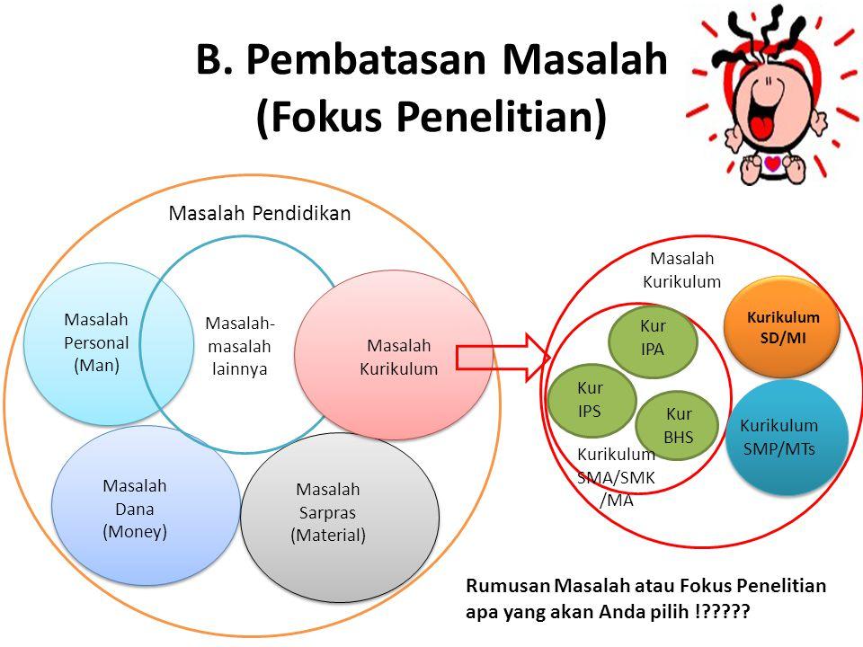 B. Pembatasan Masalah (Fokus Penelitian)