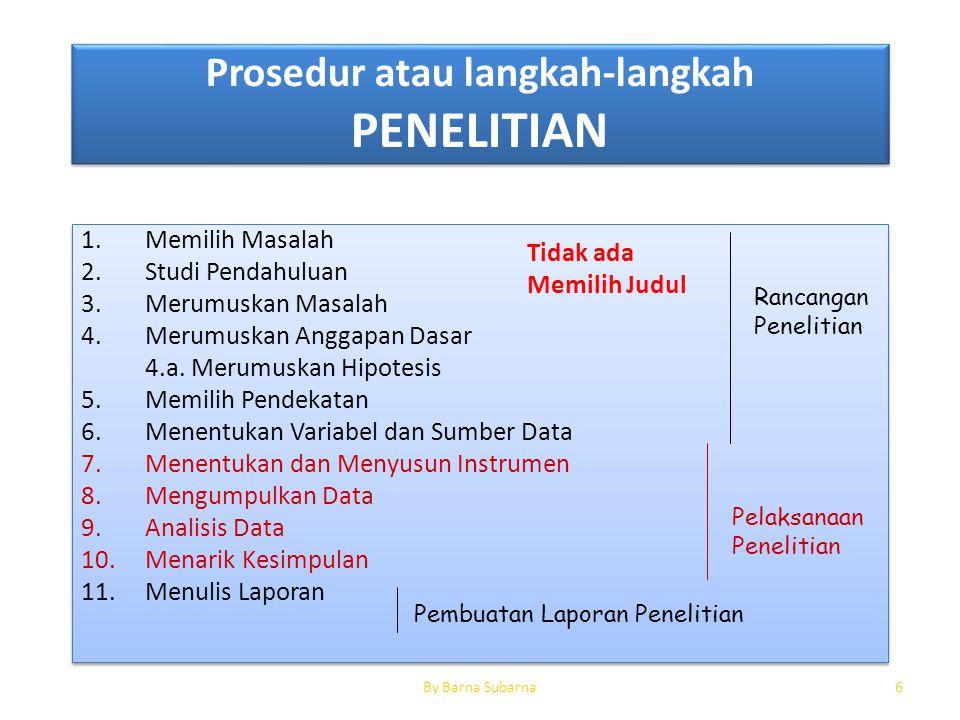 Prosedur atau langkah-langkah PENELITIAN