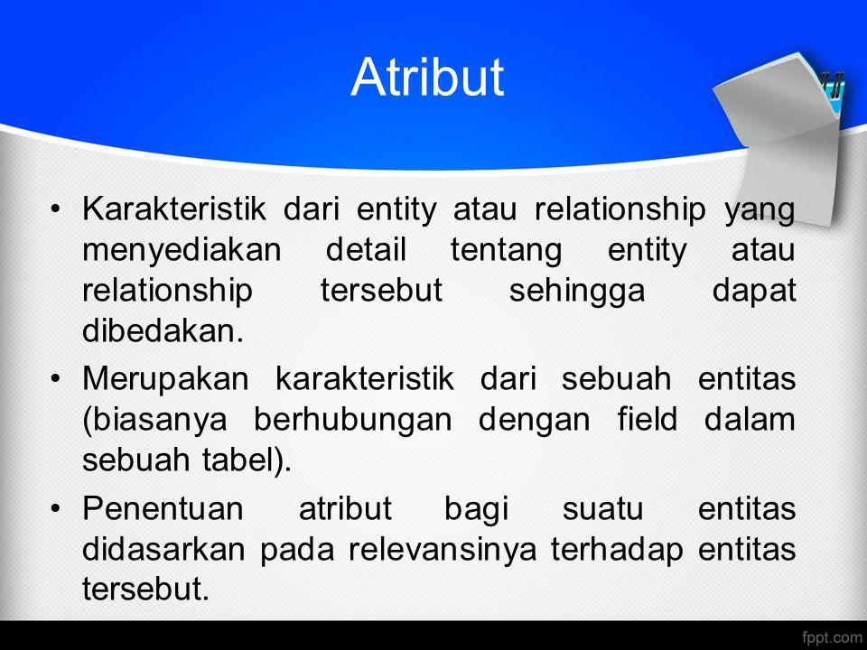 Atribut Karakteristik dari entity atau relationship yang menyediakan detail tentang entity atau relationship tersebut sehingga dapat dibedakan.
