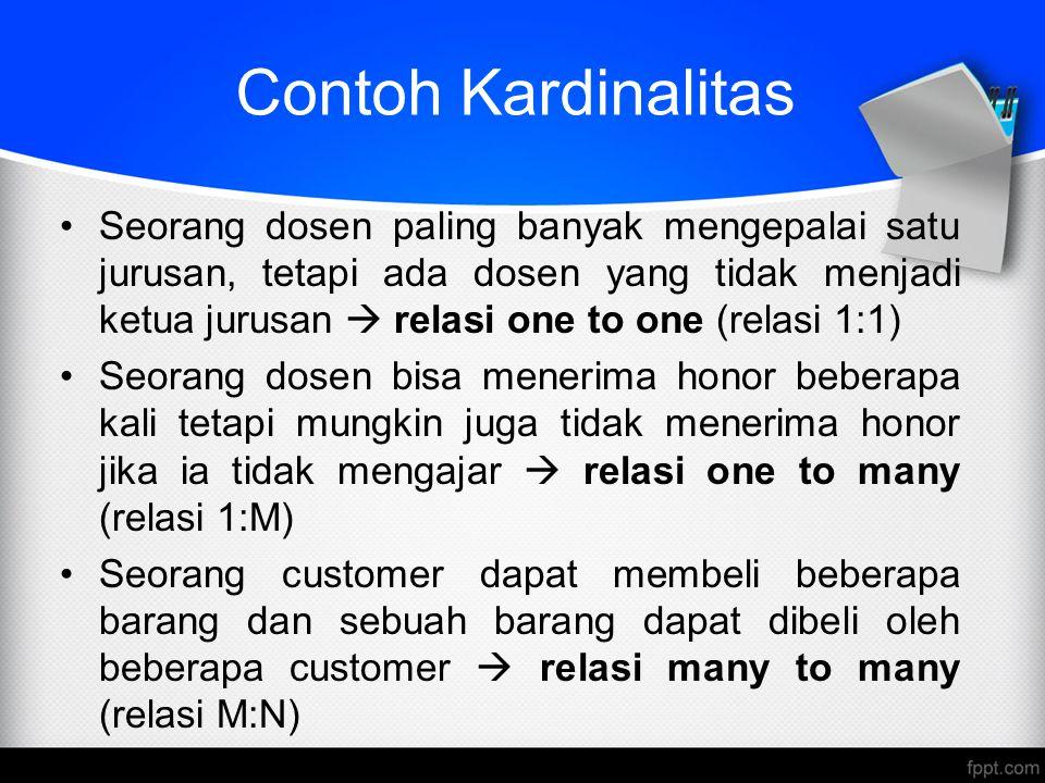 Contoh Kardinalitas